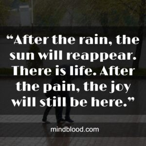 """""""After the rain, the sun will reappear. There is life. After the pain, the joy will still be here."""""""