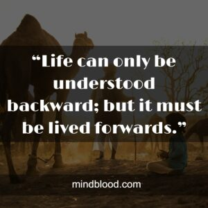 """""""Life can only be understood backward; but it must be lived forwards."""""""