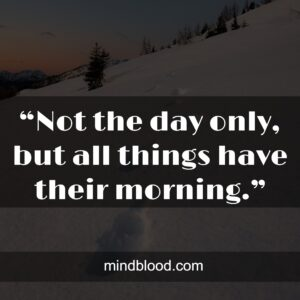 """""""Not the day only, but all things have their morning."""""""