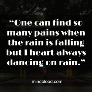 """""""One can find so many pains when the rain is falling but I heart always dancing on rain."""""""
