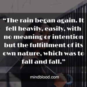 """""""The rain began again. It fell heavily, easily, with no meaning or intention but the fulfillment of its own nature, which was to fall and fall."""""""