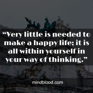 """""""Very little is needed to make a happy life; it is all within yourself in your way of thinking."""""""
