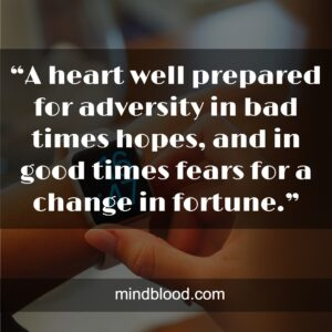 """""""A heart well prepared for adversity in bad times hopes, and in good times fears for a change in fortune."""""""