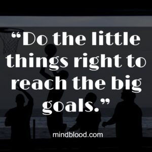 """""""Do the little things right to reach the big goals."""""""