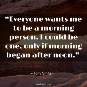 """""""Everyone wants me to be a morning person. I could be one, only if morning began after noon."""""""
