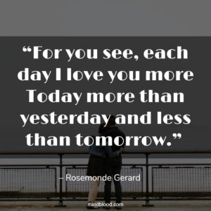 """""""For you see, each day I love you more Today more than yesterday and less than tomorrow."""""""