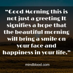 """""""Good Morning this is not just a greeting It signifies a hope that the beautiful morning will bring a smile on your face and happiness in your life."""""""