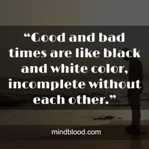 """""""Good and bad times are like black and white color, incomplete without each other."""""""