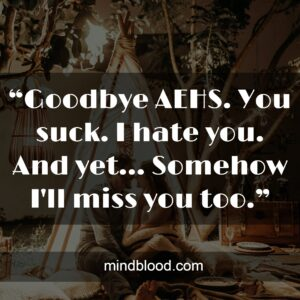 """""""Goodbye AEHS. You suck. I hate you. And yet... Somehow I'll miss you too."""""""