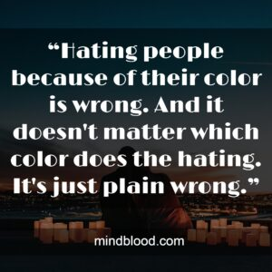 """""""Hating people because of their color is wrong. And it doesn't matter which color does the hating. It's just plain wrong."""""""