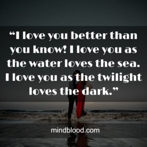 """""""I love you better than you know! I love you as the water loves the sea. I love you as the twilight loves the dark."""""""