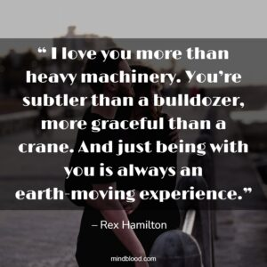 """"""" I love you more than heavy machinery. You're subtler than a bulldozer, more graceful than a crane. And just being with you is always an earth-moving experience."""""""