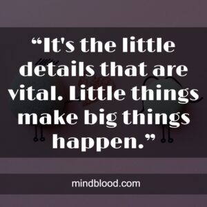 """""""It's the little details that are vital. Little things make big things happen."""""""