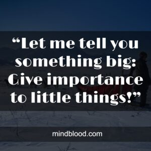 """""""Let me tell you something big: Give importance to little things!"""""""