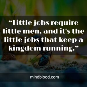 """""""Little jobs require little men, and it's the little jobs that keep a kingdom running."""""""