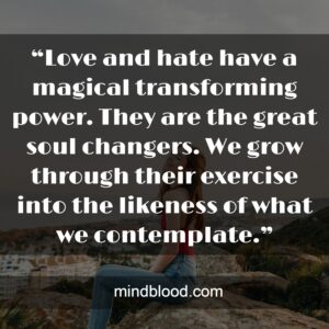 """""""Love and hate have a magical transforming power. They are the great soul changers. We grow through their exercise into the likeness of what we contemplate."""""""