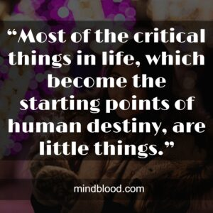 """""""Most of the critical things in life, which become the starting points of human destiny, are little things."""""""