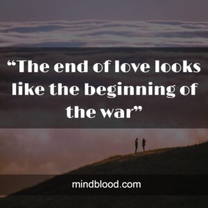 """""""The end of love looks like the beginning of the war"""""""