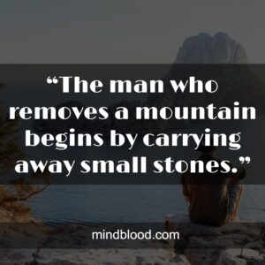 """""""The man who removes a mountain begins by carrying away small stones."""""""