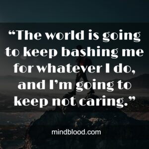 """""""The world is going to keep bashing me for whatever I do, and I'm going to keep not caring."""""""