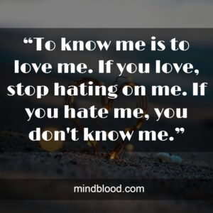 """""""To know me is to love me. If you love, stop hating on me. If you hate me, you don't know me."""""""