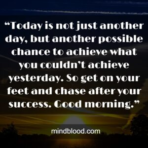 """""""Today is not just another day, but another possible chance to achieve what you couldn't achieve yesterday. So get on your feet and chase after your success. Good morning."""""""
