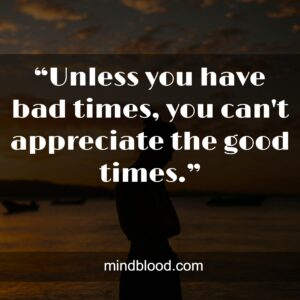 """""""Unless you have bad times, you can't appreciate the good times."""""""