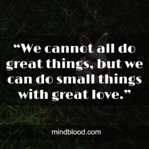 """""""We cannot all do great things, but we can do small things with great love."""""""