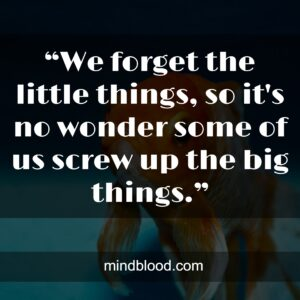 """""""We forget the little things, so it's no wonder some of us screw up the big things."""""""