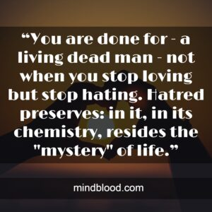 """""""You are done for - a living dead man - not when you stop loving but stop hating. Hatred preserves: in it, in its chemistry, resides the """"mystery"""" of life."""""""