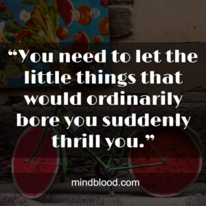 """""""You need to let the little things that would ordinarily bore you suddenly thrill you.""""-"""