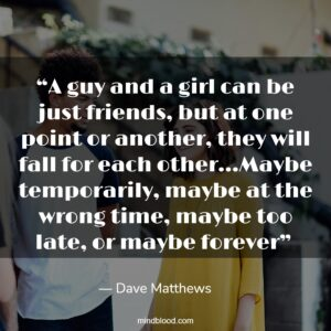 """""""A guy and a girl can be just friends, but at one point or another, they will fall for each other…Maybe temporarily, maybe at the wrong time, maybe too late, or maybe forever"""""""