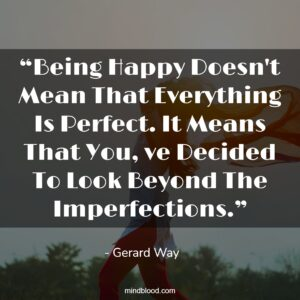 """""""Being Happy Doesn't Mean That Everything Is Perfect. It Means That You, ve Decided To Look Beyond The Imperfections."""""""