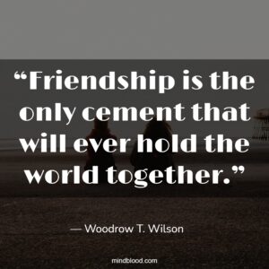 """""""Friendship is the only cement that will ever hold the world together."""""""
