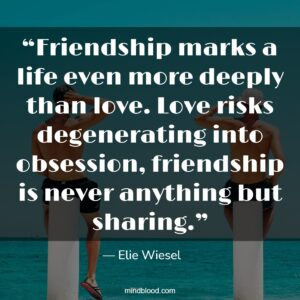 """""""Friendship marks a life even more deeply than love. Love risks degenerating into obsession, friendship is never anything but sharing."""""""