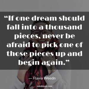 """""""If one dream should fall into a thousand pieces, never be afraid to pick one of those pieces up and begin again."""""""