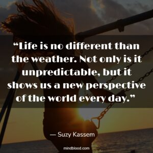 """""""Life is no different than the weather. Not only is it unpredictable, but it shows us a new perspective of the world every day."""""""