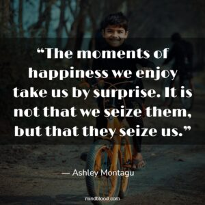 """""""The moments of happiness we enjoy take us by surprise. It is not that we seize them, but that they seize us."""""""