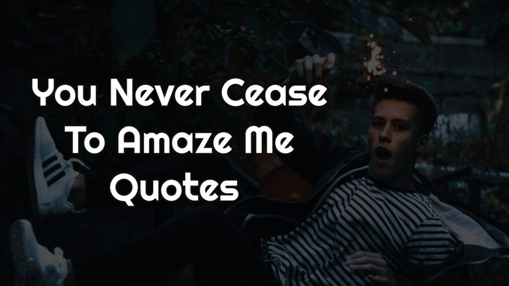 You Never Cease To Amaze Me Quotes