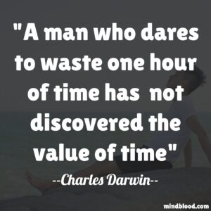 A man who dares to waste one hour of time has not discovered the value of time