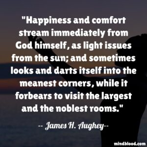 Happiness and comfort stream immediately from God himself, as light issues from the sun; and sometimes looks and darts itself into the meanest corners, while it forbears to visit the largest and the noblest rooms