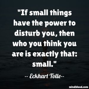 If small things have the power to disturb you, then who you think you are is exactly that: small.