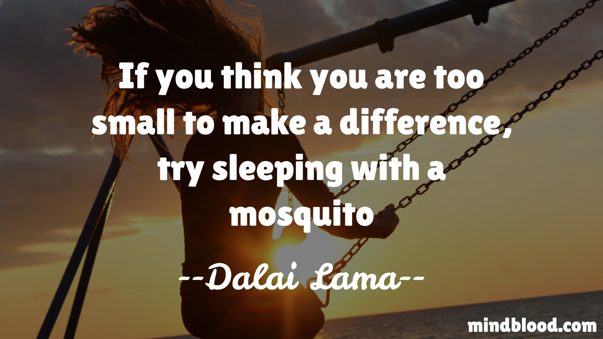 If you think you are too small to make a difference, try sleeping with a mosquito - Dalai Lama