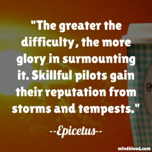 The greater the difficulty, the more glory in surmounting it. Skillful pilots gain their reputation from storms and tempests