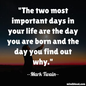 The two most important days in your life are the day you are born and the day you find out why.