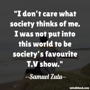 I don't care what society thinks of me. I was not put into this world to be society's favourite T.V show.