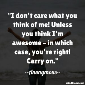 I don't care what you think of me! Unless you think I'm awesome – in which case, you're right! Carry on.
